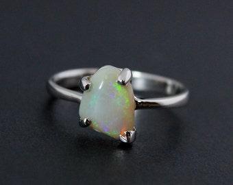 50% OFF SALE - White Opal Ring - Green Flecks - October Birthstone
