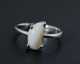 50% OFF SALE - Milky Opal Ring - Freeform Cut - October Birthstone