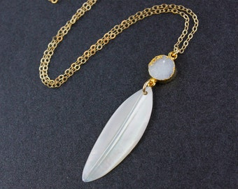 Mother of Pearl Feather and Druzy Stone Necklace - 14k Gold Filled Chain