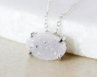 50% OFF SALE - Silver-Grey Druzy Pendant Necklace - Choose Your Druzy - Oval Cut
