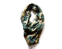Scarf Green, Fall, Square scarf, women Accessories Hand Print Scarf hand dyed Scarf handmade wholesale scarves, Leaf Print - Patta green