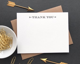 Arrow Thank You Letterpress Stationery - Set of 6 Flat Notes