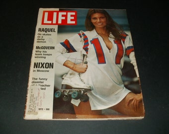 Vintage Life Magazine June 2 1972 - Raquel Welch on Skates Cover and Article - Scrapbooking Paper Ephemera Collectible