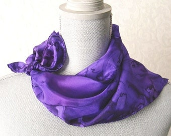 Hand Dyed Silk Bandana Scarf in Purples