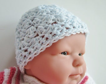 Crocheted Baby Hat, Size Newborn, Blue Beanie, Hospital Hat