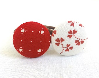 Ponytail Holder Set of 2 - Red Hearts - READY TO SHIP
