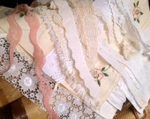SALE Vintage Embroidery & Lace LOT for lace book, art quilt, samplers, needle case, ditty bag