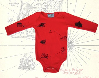 Red and Black Treasure Map Baby Onesie