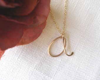 Gold filled  Initial Necklace...handmade personalized wire wrapped cursive initial for everyday, birthday, brides, bridesmaid, flowergirl