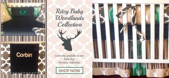 Stag Boy Crib Set Woodlands Crib Set Rustic Boy Crib Set - Baby boy deer crib bedding sets