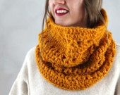 Hooded Scarf- Hood Cowl- Winter Accessories- Womens Gift- Orange Cowl- Chunky Cowl Scarf- Crochet Cowl- Infinity Scarf- Hood Scarf- Gift