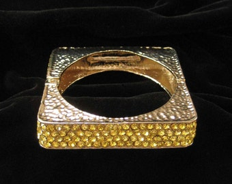 Square Bangle Bracelet, Yellow Rhinestones