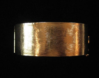 Brushed Gold Tone Hinged Bangle Bracelet