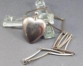 Sterling Perfume Heart Signed HJ Hans Jensen Danish 830s Silver Necklace Vintage 1950s Necklace