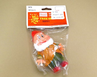 Happy Snow White and the Seven Dwarfs Christmas Ornament Vintage 1970s Walt Disney Blow Mold Flocked Tree Ornament in Original Packaging