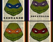 Buy Any 2 Prints get 1 Free Teenage Mutant Ninja Turtle Set All 4 Custom Vintage Dictionary Art