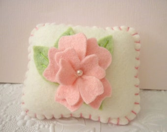 Felt Flower Pincushion Pink Rosette Needle Pinkeep Pillow Felted Wool