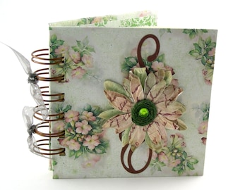 Bouquets of Posies Gratitude Book, gratitude journal, thank you book, thank you journal, gratitude diary, blessings book - green, blush pink