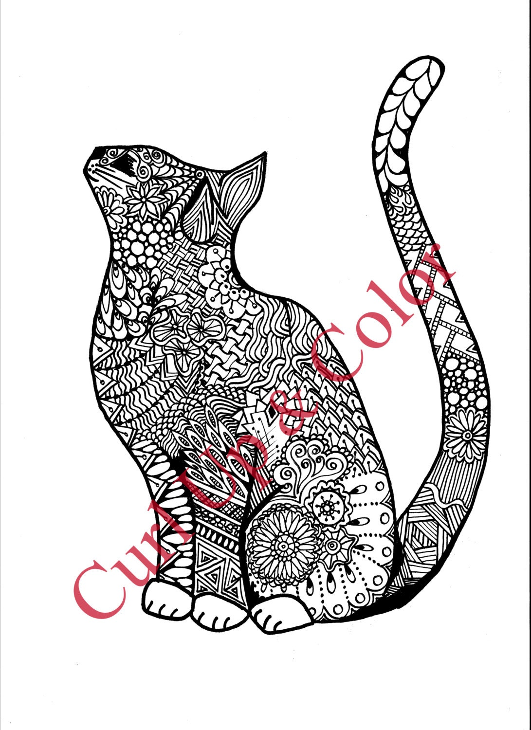 cat coloring pages for adults - adult coloring page curious cat instant by allmyartandsoulne
