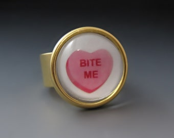 Bite Me Candy Heart Ring - Adjustable - In Gold and Silver