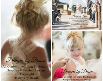 Ivory Flowergirl dress with lace overlay! Corset, Tutu Skirt. detachable Train & Hair Piece! More colors available.