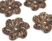 3 Vintage 1940s Flowers // 40s 50s Flower Finding  // Brass // Craft Jewelry Supply // Rhinestone setting
