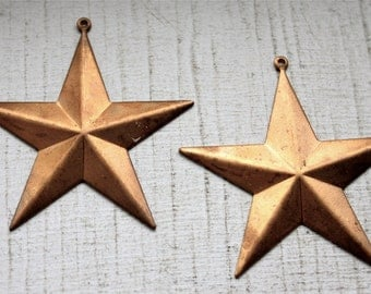 2 Vintage Brass Star Pendants // 1960s Craft Jewellry Supply // 60s  70s NOS  // Hollywood Glamorous Star