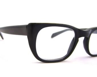 1960s Eyeglasses  // 50s 60s Vintage Frames // BLACK //UOC optical frames
