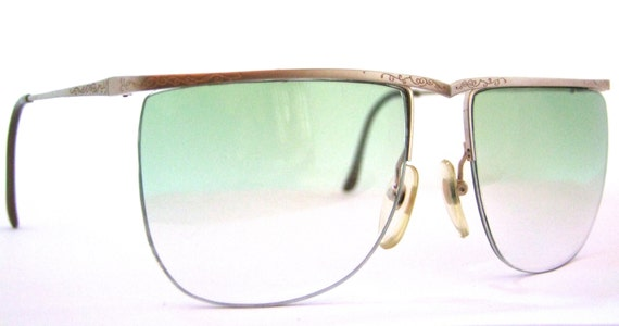 Jade Green Eyeglass Frames : Sunglasses // 80s Vintage Designer Eyeglasses // New Jade