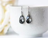 Black Silver Night Crystal Titanium Earrings Swarovski Pear Shape Silver Accent Metallic Simple Dangle Earrings