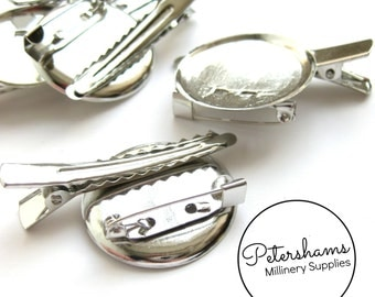 5 Pcs. Silver Metal Alligator Clips with round base and brooch pin backing