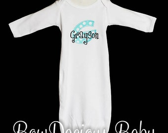 Personalized Long Sleeve Infant Gown, Baby Boy Gown, Personalized Baby Boy Infant Gown, 0-3m or 3-6m, Baby Shower Gift