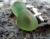 Organic moss green sea glass cufflinks for him or her with Genuine Natural Amalfi Sea Glass /nr62