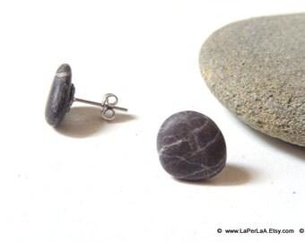 Mermaid Post Earrings - STONES - Organic Sea Pebbles Earrings with white Genuine Natural Amalfi Sea Pebbles / recycle / reuse / nr 121