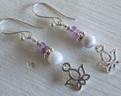 Lotus ~ Blue Lace Agate & Amethyst earrings with Lotus flower charms - Zen style jewelry