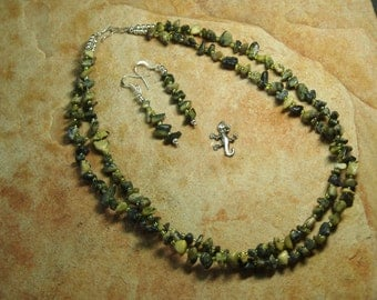 2- Strand Natural African Turquoise Gemstone Chips, Crystal Spacers, 925 Silver Necklace and Earrings