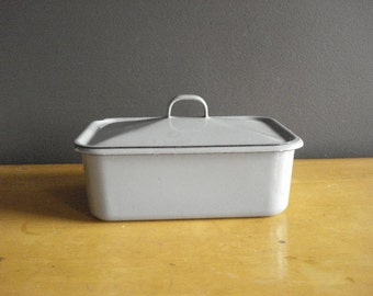 Vintage Enamel Refrigerator Box with Lid - Grey Metal Box with Lid - Gray Enamel Container