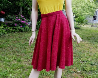 70s Skirt, Red Skirt, Flared Skirt in Cotton Twill, 70s Skirt, Vintage Skirt in Red Speckled Fabric Size 2