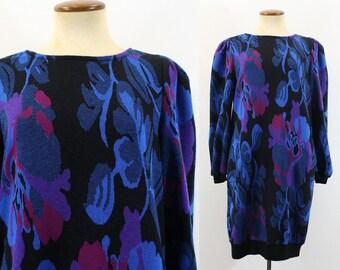 1980s Tunic Dress Mini Graphic Floral Mallrat Black Blue New Wave Jumper Sweater Pullover Vintage 80s Punk Print Half Sleeves Medium M