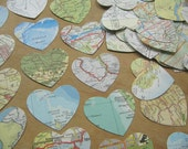 Vintage Map Hearts Medium - Die Cut Map Atlas Heart Shape Paper Cuts - Die Cut Map Heart  - Paper Topper Heart Old Map Hearts - Map Paper