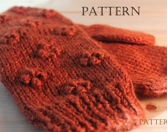 Popcorn Mittens Knit in the Round, Pattern
