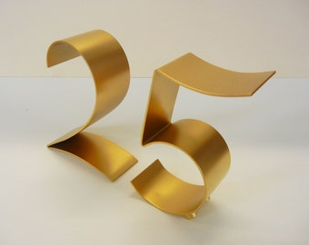 Metal table numbers freestanding for weddings/events/parties-Italic style 5""