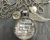 Vintage One Word Necklace B JOYFUL with charms
