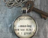 One Word Pendant with Vintage Key - Amazing