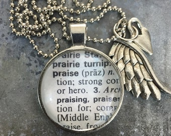 One Word Necklace with Charms- Praise