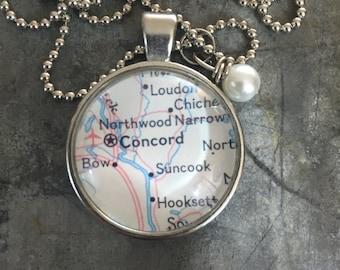 Map Pendant Necklace Concord Massachusetts MA