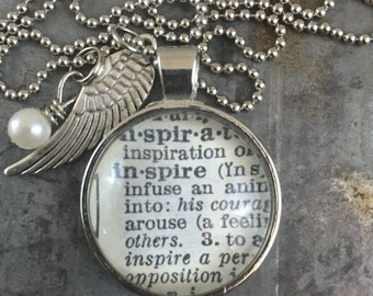 One Word Dictionary Necklace- Inspire with Angel Wing Charm