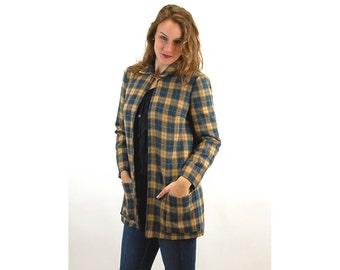 1960s plaid coat, 60s cape coat, wool tweed  plaid, blue gold, Size M