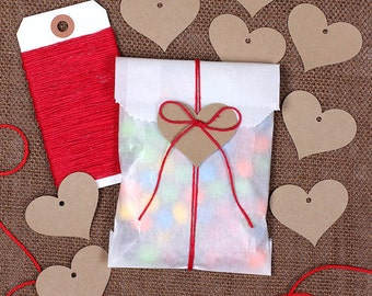 Valentine's Candy Bag Kit: Small Glassine Bags, Red Bakers Twine & Heart Gift Tags, Goodie Bags, Gift Bags, Party Favor Bags (12)
