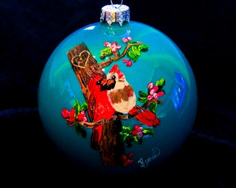 Hand Painted Ornament-2 Cardinals-Item 905
